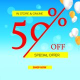 Summer sale. Get up fifty percent discount. Banner of sales on summer sky background with flying balloons. Special offer. Proposition in store and online for Royalty Free Stock Photos