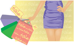 Summer sale , girl with shopping bags Stock Photography