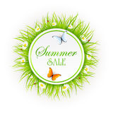 Summer sale on grass background Stock Images