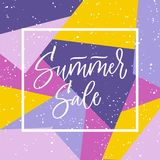Summer sale hand lettering in the frame on bright background in violet and yellow colors. Vector artistic calligraphy. Stock Photography