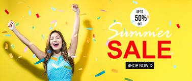 Summer sale with happy woman with confetti