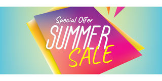Summer Sale heading design colorful sharp shape for banner or po Royalty Free Stock Photography