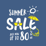 Summer Sale heading fun and cute hand draw style illustration de Royalty Free Stock Image