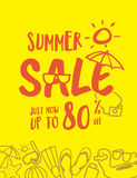 Summer Sale heading fun and cute hand draw style illustration de Royalty Free Stock Images
