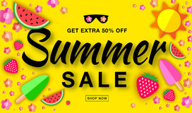 Summer sale horizontal flat banner with flat paper sun, watermelon, ice cream, strawberry, flower, vector elements. vector illustration
