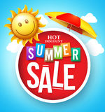 Summer Sale Hot Discount in Red Circle Floating Royalty Free Stock Photography