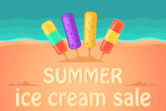 Summer sale in an ice cream shop. Ice lolly. Beach and ocean waves on a background. Royalty Free Stock Image