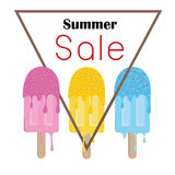 Summer sale ice creams colorful symbol poster  Royalty Free Stock Image