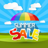 Summer Sale Illustration with Colorful Parasol Stock Photo