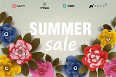 Summer SALE illustration with flowers and leaves. Royalty Free Stock Photo