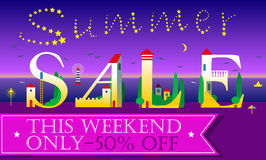 Summer Sale Inscription. Cute houses Font Royalty Free Stock Image