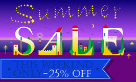 Summer Sale Inscription. Holiday houses Font Stock Photography