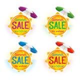 Summer Sale label price tag banner badge template sticker design royalty free illustration