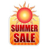 Summer sale in label with sun Stock Image