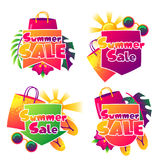 Summer sale labels with colorful elements. Sun, palm leaves and shopping bags Stock Photography