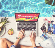 Summer Sale Laptop Relax Holiday Shopping Concept Royalty Free Stock Photo