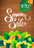 Summer sale leaves promotion poster. Card template Royalty Free Stock Image