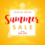 Summer SALE leaves and tree frame banner. Summer Sale vector banner with text special offer and beautifal leaf border design Royalty Free Stock Photo