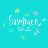 Summer sale lettering on blue background with doodle drawings. Vector hand drawn brush calligraphy for greeting cards, posters, prints royalty free illustration