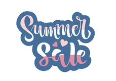 Summer sale lettering Handwritten modern calligraphy, brush painted letters with two hearts. Inspirational text in vector royalty free illustration