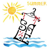 Summer Sale lettering.Shirt,watercolor sun,sea wave.Typographic Stock Photography