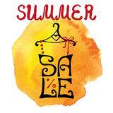 Summer Sale lettering.Shirt,watercolor yellow splash.Typographic Royalty Free Stock Photos
