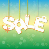 Summer Sale. Letters hanging on ropes with flowers royalty free illustration