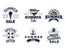 Summer sale clearance vector badges some shopping hand drawn advertising labels illustration. Summer sale logo clearance element vector advertising badges Stock Photography
