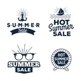 Summer sale clearance vector badges some shopping hand drawn advertising labels illustration. Summer sale logo clearance element vector advertising badges Stock Image