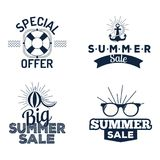 Summer sale clearance vector badges some shopping hand drawn advertising labels Stock Photos