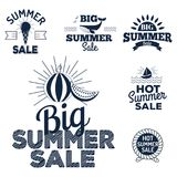 Summer sale clearance vector badges some shopping hand drawn advertising labels illustration. Summer sale logo clearance element vector advertising badges Royalty Free Stock Photography