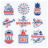 Summer sale logo vector. Badges. Summer sale logo  on white background.Some shopping summer big mega sale logo silhouette Stock Photography