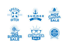 Summer sale logo vector illustration. Summer sale badge logo isolated on white background Stock Image