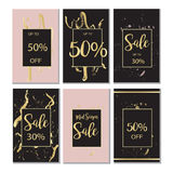 Summer Sale Luxury black,pink and gold Banner, for Discount Poster, Fashion Sale, backgrounds, in vector. Beautiful summer,luxury background for sales Royalty Free Stock Image