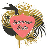 Summer Sale. Modern banner template promoting a Summer sale with lots of abstract elements, wings and a Hummingbird Stock Photography