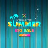 Summer sale modern color design template web banner or poster. Vector Summer sale label with typographic text isolated. Summer sale modern color design template Stock Images