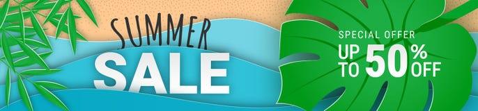 Summer sale narrow horizontal banner paper cut stock illustration
