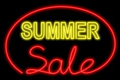 Summer sale neon Royalty Free Stock Images