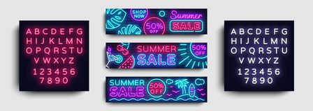 Summer Sale Neon collection horizontal Banner Vector. Advertising banner in modern trend design, neon style, bright Stock Photos
