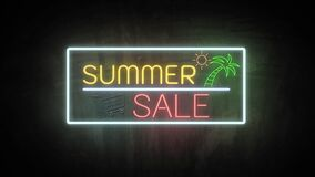 SUMMER SALE neon light on wall. Sale banner blinking neon sign style for promo video. concept of sale and clearance