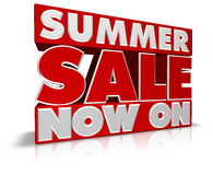 Summer Sale Now On. Very large SUMMER SALE NOW ON 3D type perfect for banners, leaflets, point of pale and posters. Created in Cinema4D Royalty Free Stock Photos