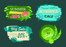 Summer Sale -20 Off Discount -45 Big Offer Set. Summer sale -20 off discount -45 big deal offer summertime big best choice set of labels with tropical leaves stock illustration