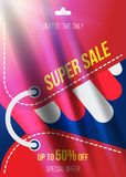 Summer sale 50 off discount. Horizontal Banner template for design advertising and poster with light effects. Flat illustra. Tion EPS 10 Vector Illustration