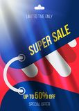 Summer sale 50 off discount. Horizontal Banner template for design advertising and poster with light effects. Flat illustra. Tion EPS 10 Royalty Free Illustration