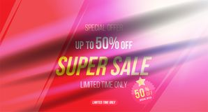 Summer sale 50 off discount. Horizontal Banner template for design advertising and poster with light effects. Flat. Vector illustration EPS 10 Stock Illustration