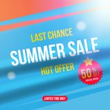 Summer sale 50 off discount. Square Banner template for design advertising and poster with light effects. Flat vector. Illustration EPS 10 Stock Images