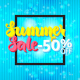 Summer Sale 50 Off Lettering over Blue Abstract Background Royalty Free Stock Image