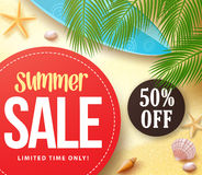 Summer sale with 50% off in red circle with palm leaves vector illustration