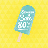 Summer Sale 80% off. Vector triangular background with ice-cream vector illustration