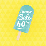Summer Sale 40% off. Vector triangular background with ice-cream stock illustration